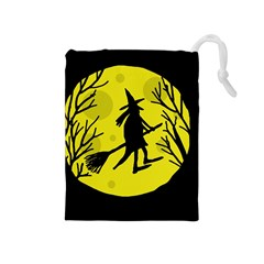 Halloween Witch   Yellow Moon Drawstring Pouches (medium)