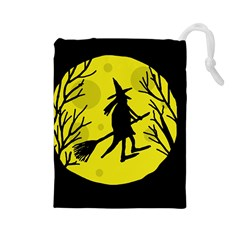 Halloween Witch   Yellow Moon Drawstring Pouches (large)  by Valentinaart