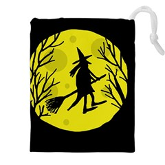 Halloween Witch   Yellow Moon Drawstring Pouches (xxl) by Valentinaart