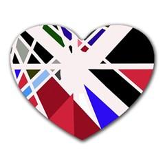 Decorative Flag Design Heart Mousepads by Valentinaart