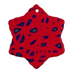 Red neon Snowflake Ornament (2-Side) Back