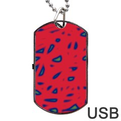 Red Neon Dog Tag Usb Flash (two Sides)  by Valentinaart