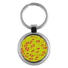 Yellow Neon Design Key Chains (round)  by Valentinaart