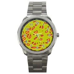 Yellow Neon Design Sport Metal Watch by Valentinaart