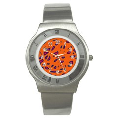 Orange Neon Stainless Steel Watch by Valentinaart