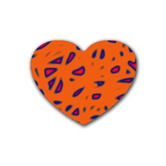 Orange Neon Heart Coaster (4 Pack)  by Valentinaart