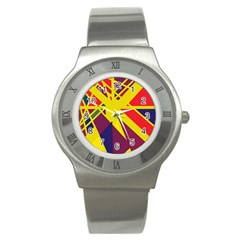 Hot Abstraction Stainless Steel Watch by Valentinaart