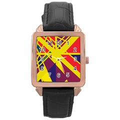 Hot Abstraction Rose Gold Leather Watch  by Valentinaart