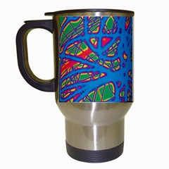 Colorful Neon Chaos Travel Mugs (white) by Valentinaart