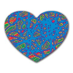 Colorful Neon Chaos Heart Mousepads by Valentinaart
