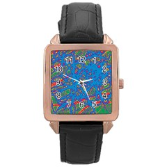 Colorful Neon Chaos Rose Gold Leather Watch  by Valentinaart