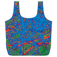 Colorful Neon Chaos Full Print Recycle Bags (l)  by Valentinaart