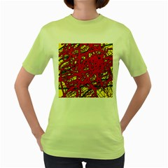 Yellow And Red Neon Design Women s Green T Shirt by Valentinaart