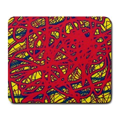 Yellow And Red Neon Design Large Mousepads by Valentinaart