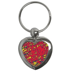Yellow And Red Neon Design Key Chains (heart)  by Valentinaart