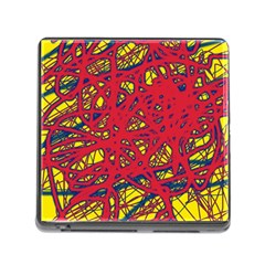 Yellow And Red Neon Design Memory Card Reader (square) by Valentinaart