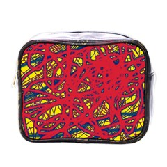 Yellow And Red Neon Design Mini Toiletries Bags by Valentinaart