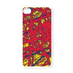 Yellow And Red Neon Design Apple Iphone 4 Case (white) by Valentinaart