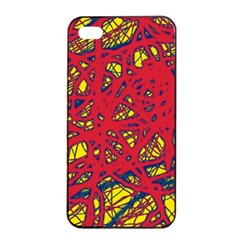 Yellow And Red Neon Design Apple Iphone 4/4s Seamless Case (black) by Valentinaart