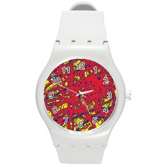 Yellow And Red Neon Design Round Plastic Sport Watch (m) by Valentinaart