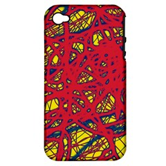 Yellow And Red Neon Design Apple Iphone 4/4s Hardshell Case (pc+silicone) by Valentinaart