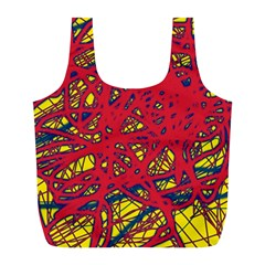 Yellow And Red Neon Design Full Print Recycle Bags (l)  by Valentinaart