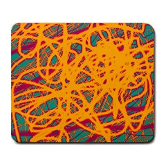 Orange Neon Chaos Large Mousepads by Valentinaart