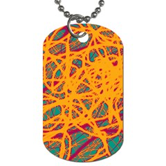 Orange Neon Chaos Dog Tag (one Side) by Valentinaart