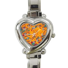 Orange Neon Chaos Heart Italian Charm Watch by Valentinaart