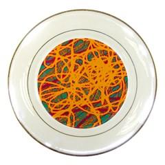 Orange Neon Chaos Porcelain Plates by Valentinaart