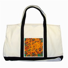 Orange Neon Chaos Two Tone Tote Bag by Valentinaart