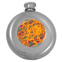 Orange Neon Chaos Round Hip Flask (5 Oz) by Valentinaart