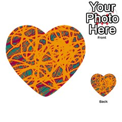 Orange Neon Chaos Multi Purpose Cards (heart)  by Valentinaart