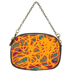 Orange Neon Chaos Chain Purses (two Sides)  by Valentinaart