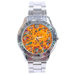 Orange Neon Chaos Stainless Steel Analogue Watch by Valentinaart