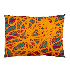 Orange Neon Chaos Pillow Case (two Sides) by Valentinaart