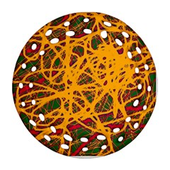 Yellow Neon Chaos Ornament (round Filigree)  by Valentinaart
