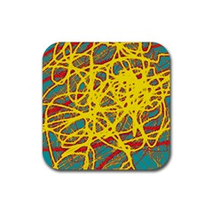 Yellow neon Rubber Coaster (Square)  by Valentinaart
