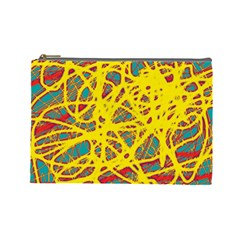 Yellow Neon Cosmetic Bag (large)  by Valentinaart