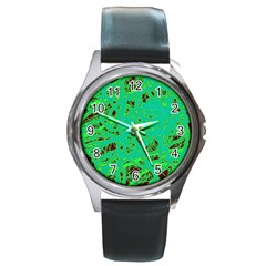 Green Neon Round Metal Watch by Valentinaart