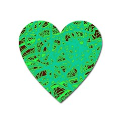 Green Neon Heart Magnet by Valentinaart