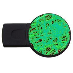 Green Neon Usb Flash Drive Round (4 Gb)  by Valentinaart