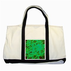 Green Neon Two Tone Tote Bag by Valentinaart