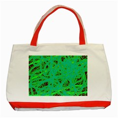 Green Neon Classic Tote Bag (red) by Valentinaart