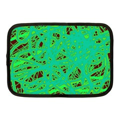 Green neon Netbook Case (Medium)  by Valentinaart