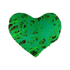 Green Neon Standard 16  Premium Flano Heart Shape Cushions by Valentinaart