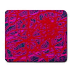 Red Neon Large Mousepads by Valentinaart