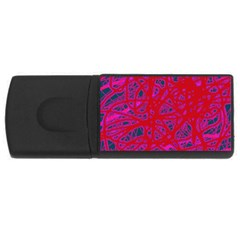 Red Neon Usb Flash Drive Rectangular (4 Gb)  by Valentinaart