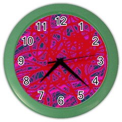 Red Neon Color Wall Clocks by Valentinaart