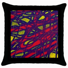 Abstract High Art Throw Pillow Case (black) by Valentinaart